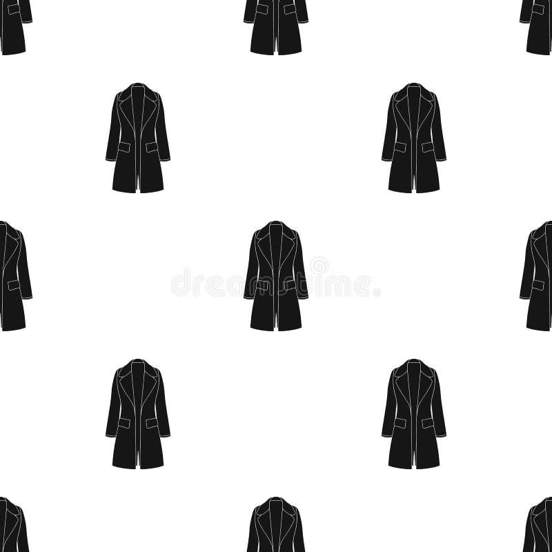 Manteau retenu femelle bleu boutonné Survêtement du ` s de femmes Icône simple d'habillement de femmes en stock noir de symbole d illustration stock