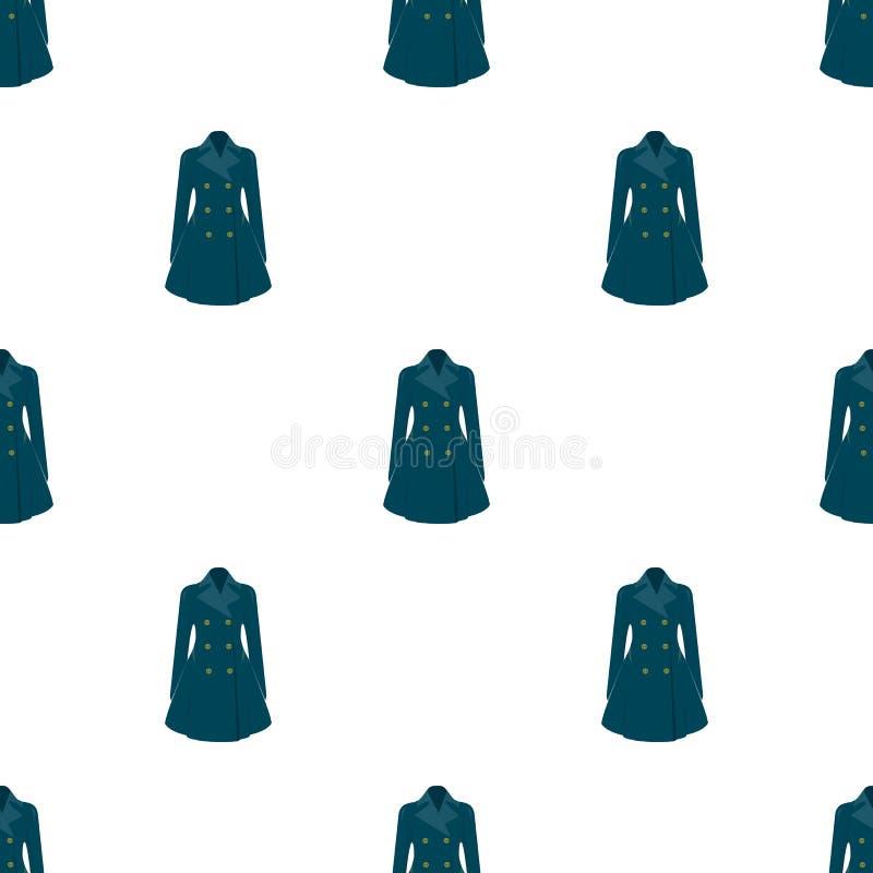 Manteau retenu femelle bleu boutonné Survêtement du ` s de femmes La femme vêtx l'icône simple en stock de symbole de vecteur de  illustration de vecteur