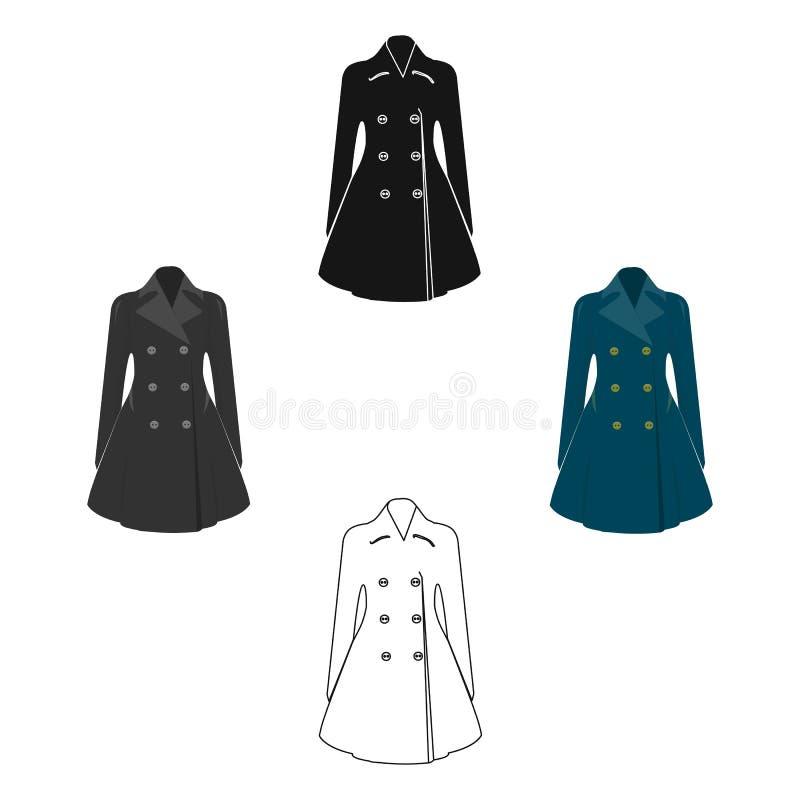 Manteau retenu femelle bleu boutonn? Surv?tement des femmes s Icône simple de vêtements de femme dans la bande dessinée, symbole  illustration stock