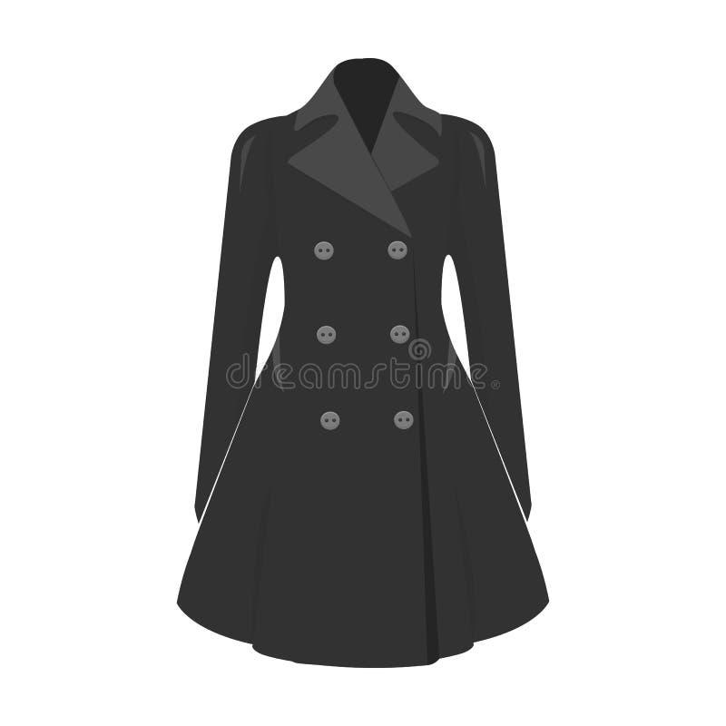 manteau retenu femelle boutonné Survêtement des femmes s La femme vêtx l'icône simple du symbole monochrome de vecteur de style illustration libre de droits