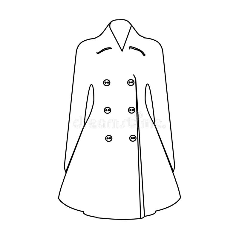 manteau retenu femelle boutonné Survêtement des femmes s La femme vêtx l'icône simple en stock de symbole de vecteur de style d'e illustration de vecteur