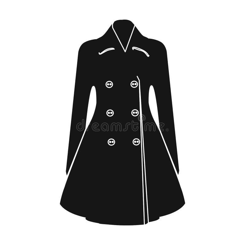 manteau retenu femelle boutonné Survêtement des femmes s La femme vêtx l'icône simple en stock noir de symbole de vecteur de styl illustration stock