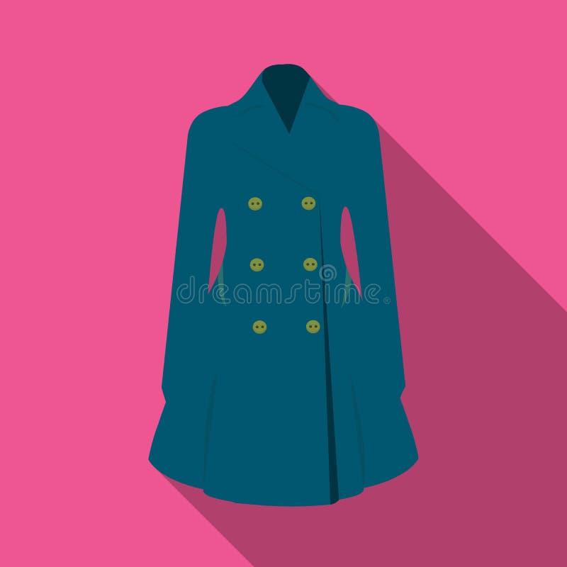 manteau retenu femelle boutonné Survêtement des femmes s La femme vêtx l'icône simple en stock plat de symbole de vecteur de styl illustration stock