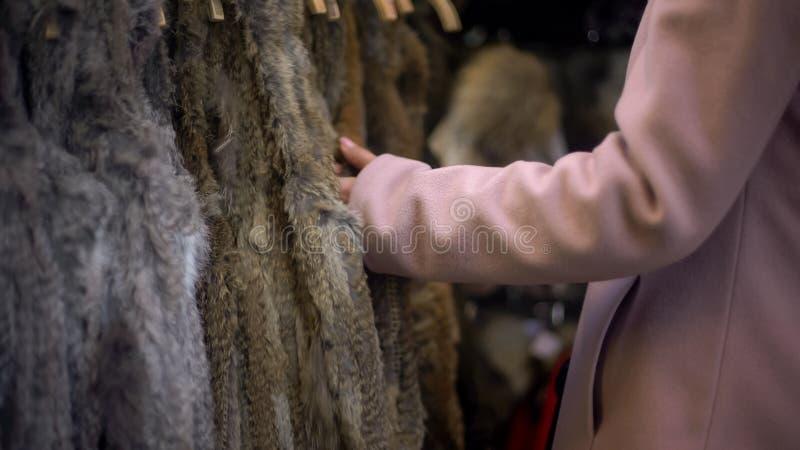 Manteaux émouvants femelles à la foire, détaillant libre de fourrure, luttant pour des droits des animaux images stock