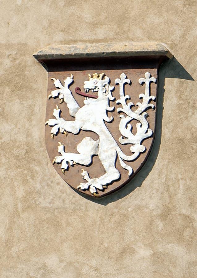 Manteaux des bras de la Bohême, vieux hôtel de ville, République Tchèque de Prague image libre de droits