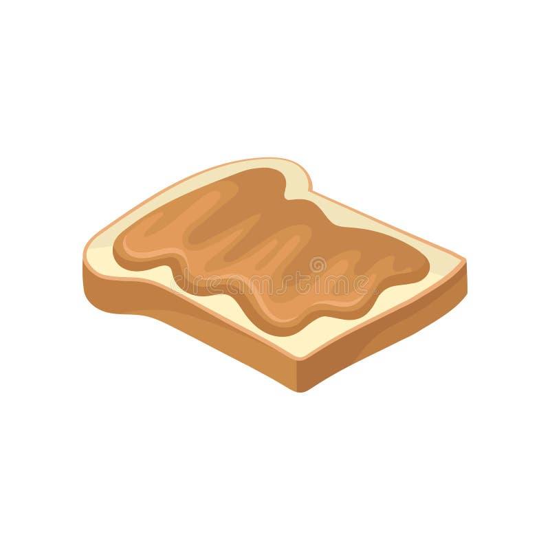 Manteiga de amendoim doce na fatia de pão brindado Petisco delicioso Alimento para o vetor liso do café da manhã para anunciar o  ilustração stock