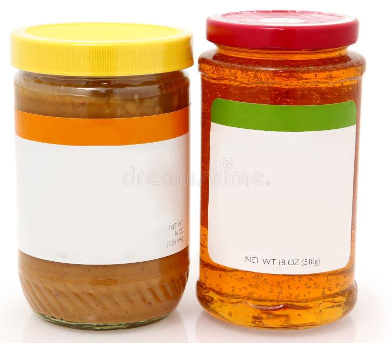 Manteiga de amendoim e geléia de Apple orgânicas foto de stock royalty free