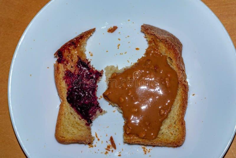 Manteiga de amendoim sem glúten Jelly Toast imagens de stock
