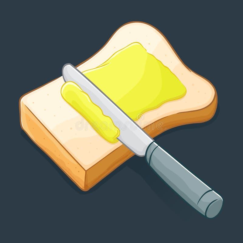 Manteiga de espalhamento da faca em um pão ilustração royalty free