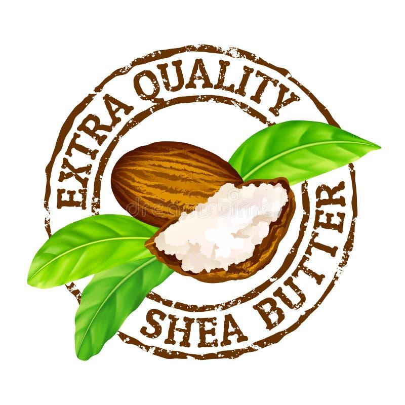 Manteiga de shea extra da qualidade do carimbo de borracha do grunge do vetor em um fundo branco ilustração stock