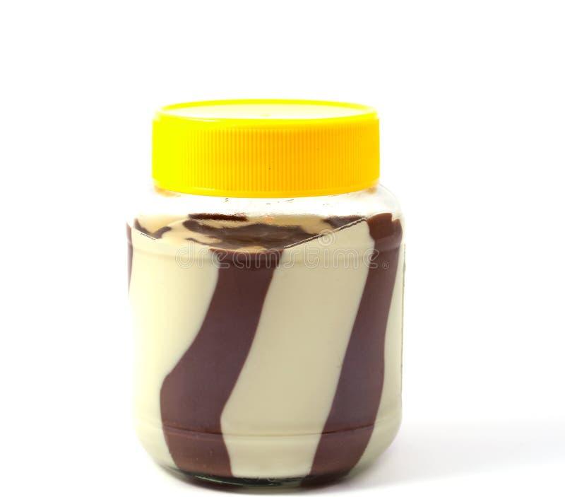 Manteiga do chocolate e de amendoim no frasco foto de stock royalty free