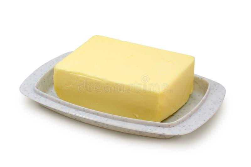 Manteiga no butterdish cinzento fotos de stock