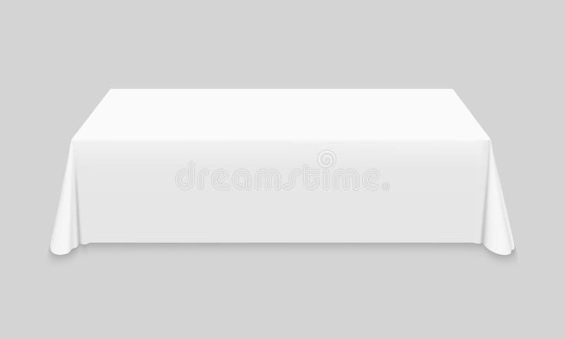Mantel blanco en la maqueta vac?a de la tabla stock de ilustración