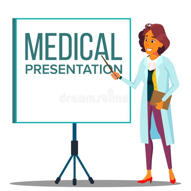 Mantel Doktor-Woman In White nahe dem Treffen des Projektor-Schirmes, medizinischer Darstellungs-Vektor Lokalisierte Karikaturill lizenzfreie abbildung