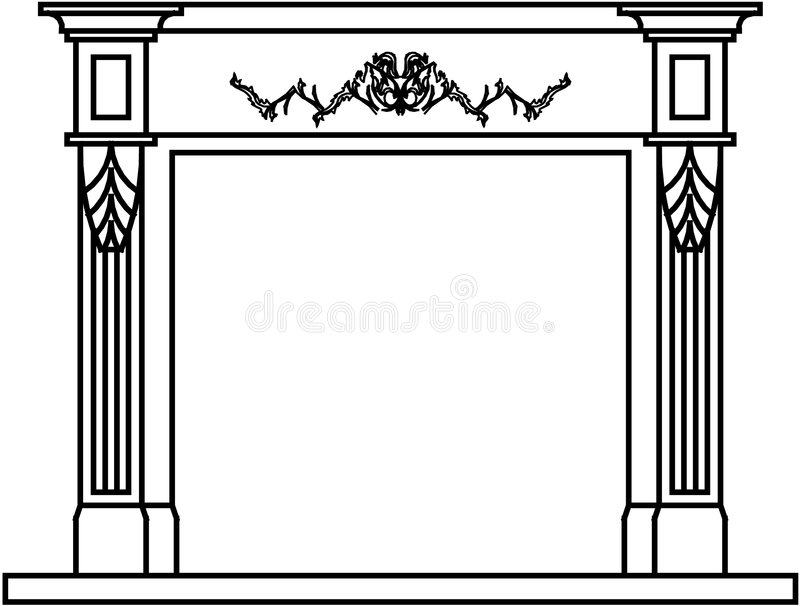 Download Mantel fire place stock vector. Image of profile, contemporary - 7794486