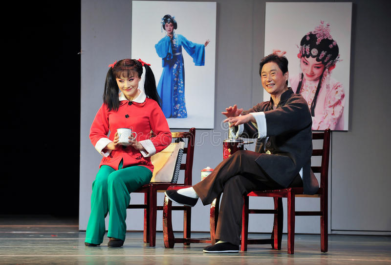 Mantel Geplauder-Jiangxis OperaBlue lizenzfreie stockfotografie