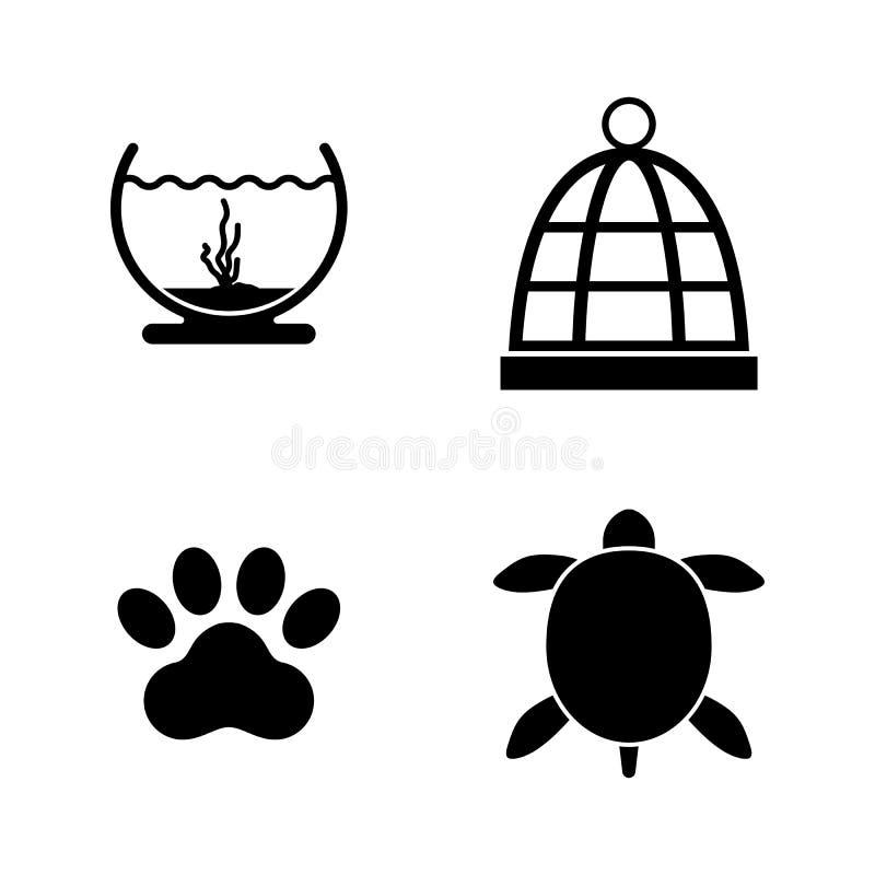 Mantendo animais de estimação Ícones relacionados simples do vetor ilustração do vetor