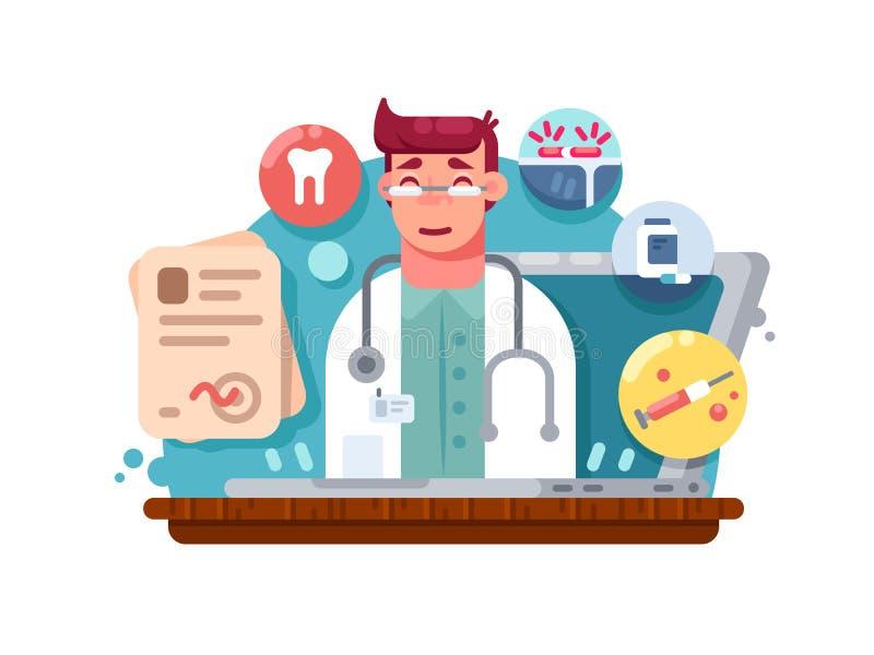 Mantenga al doctor en línea ilustración del vector