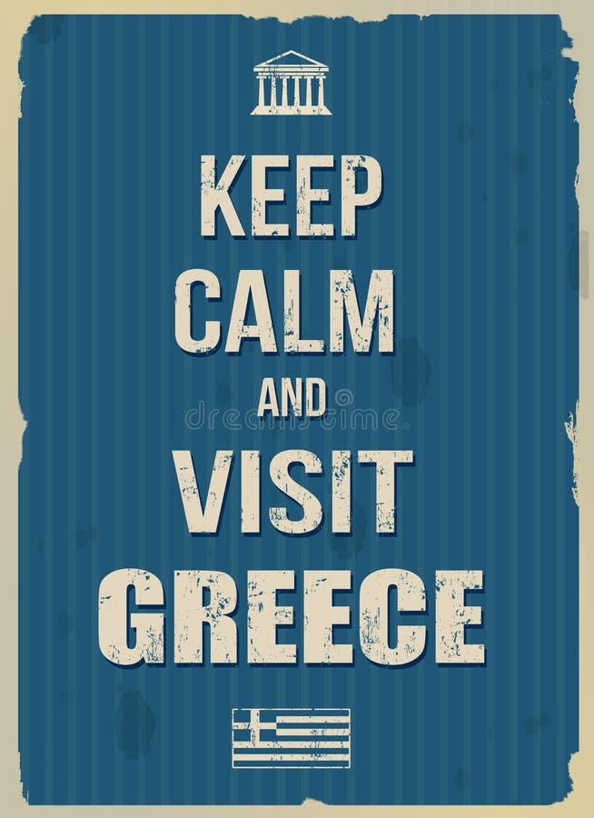 Mantenga cartel retro tranquilo y de la visita de Grecia stock de ilustración