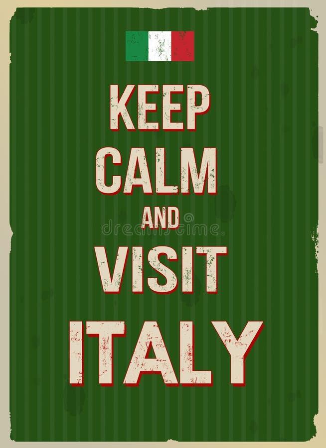 Mantenga cartel retro tranquilo y de la visita de Italia libre illustration