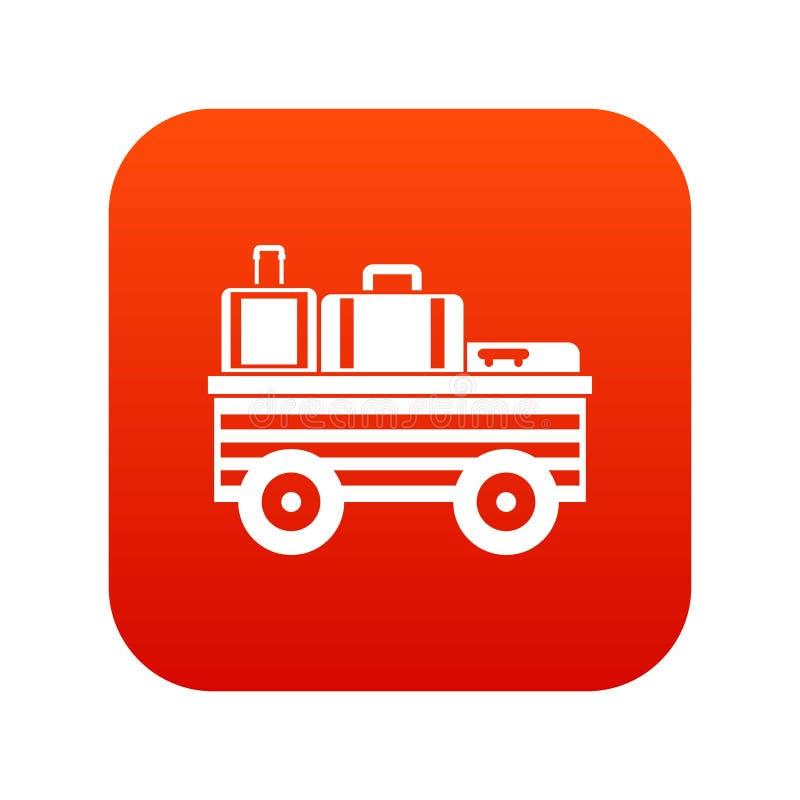Mantenga el carro con rojo digital del icono del equipaje stock de ilustración