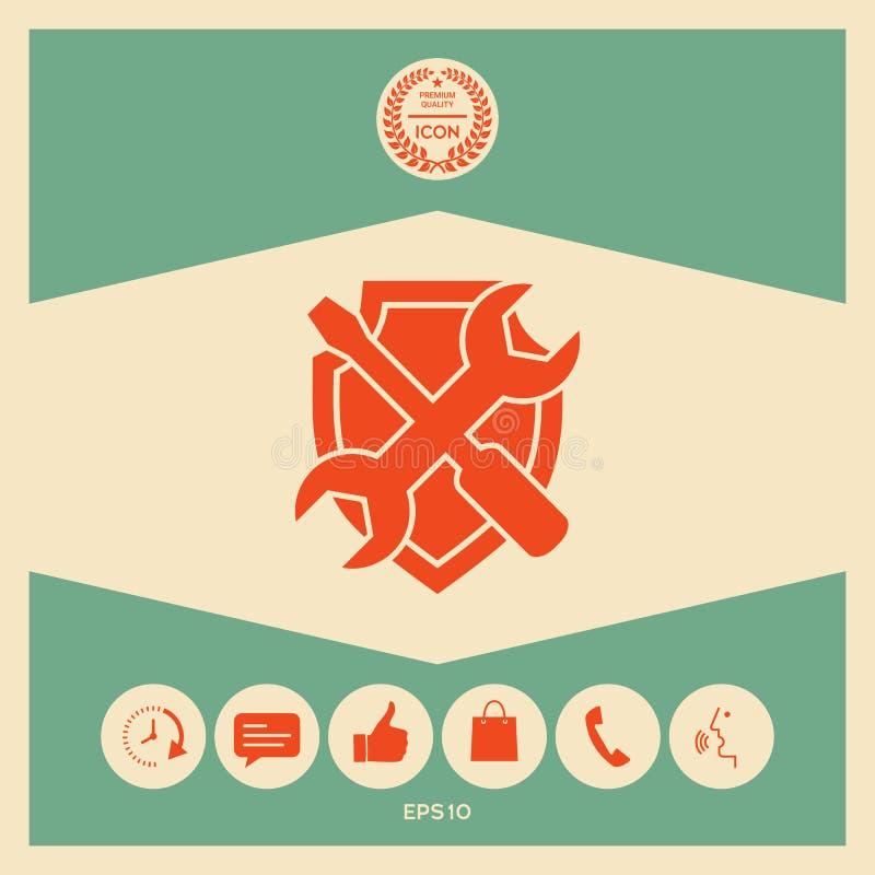 Mantenga el icono del símbolo - escudo con destornillador y la llave libre illustration