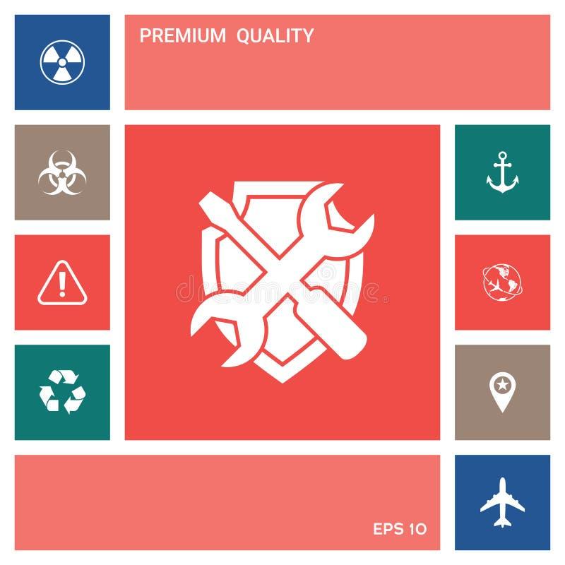 Mantenga el icono del símbolo - escudo con destornillador y la llave stock de ilustración