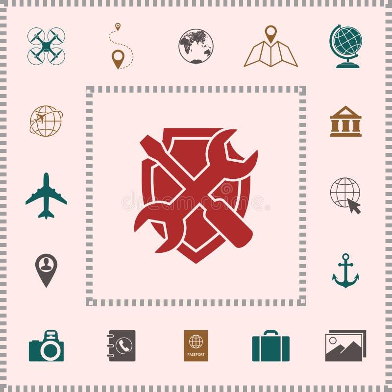 Mantenga el icono del símbolo - escudo con destornillador y la llave ilustración del vector