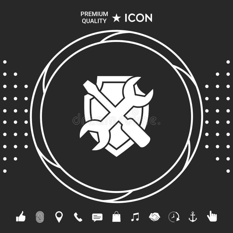 Mantenga el icono del símbolo - escudo con destornillador y la llave Elementos gráficos para su designt libre illustration