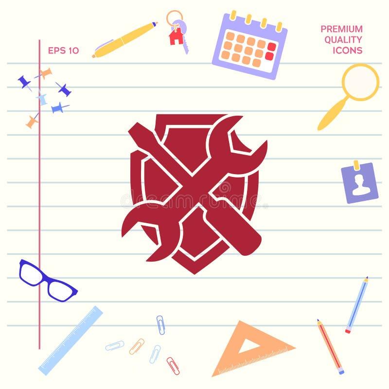Mantenga el icono del símbolo - escudo con destornillador y la llave Elementos gráficos para su diseño stock de ilustración