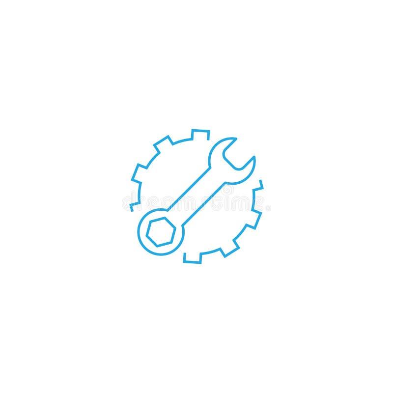 Mantenga el icono plano del vector de las herramientas Rueda dentada con el ejemplo del logotipo del s?mbolo de la llave Pictogra stock de ilustración