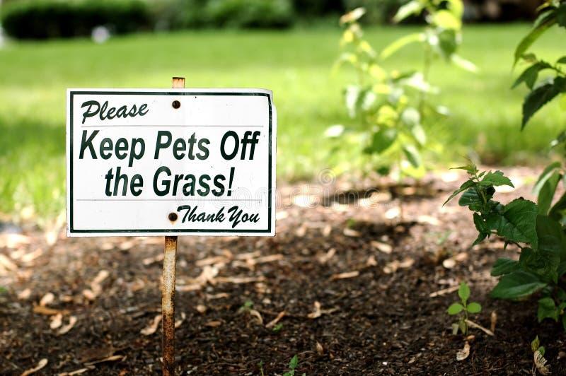 Mantenga gli animali domestici fuori dall'erba! fotografie stock