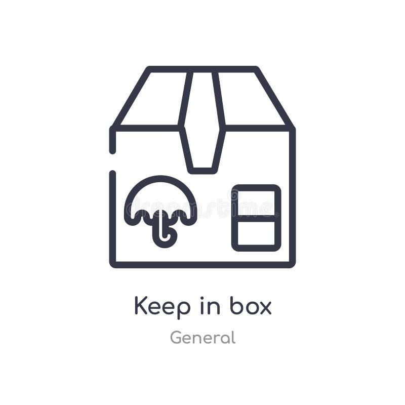 mantenga icono del esquema de la caja l?nea aislada ejemplo del vector de la colecci?n general movimiento fino editable mantener  stock de ilustración