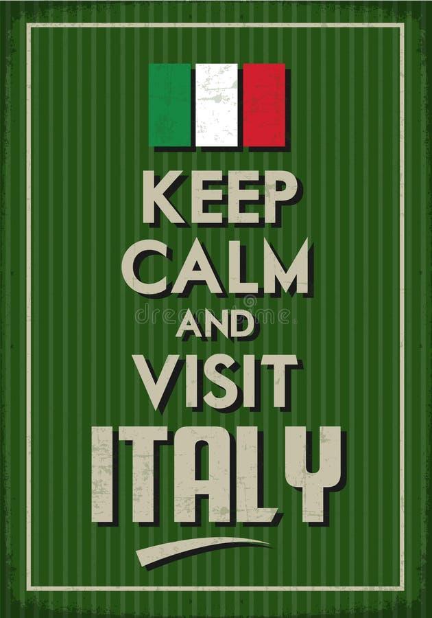 Mantenga tranquilo y visita Italia stock de ilustración