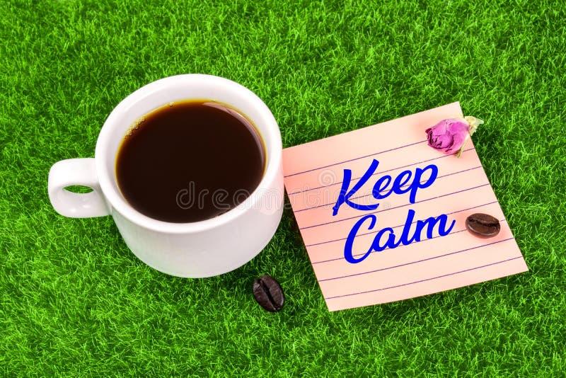 Mantenha a calma com café imagem de stock royalty free