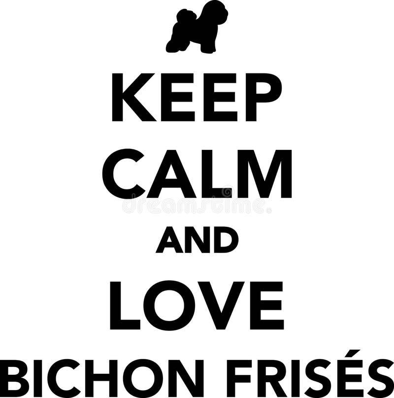 Mantenha a calma e ame Bichon Frises ilustração stock