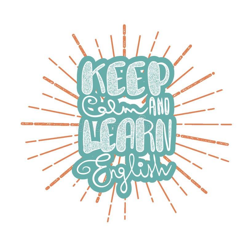 Mantenha a calma e aprenda o inglês ilustração do vetor