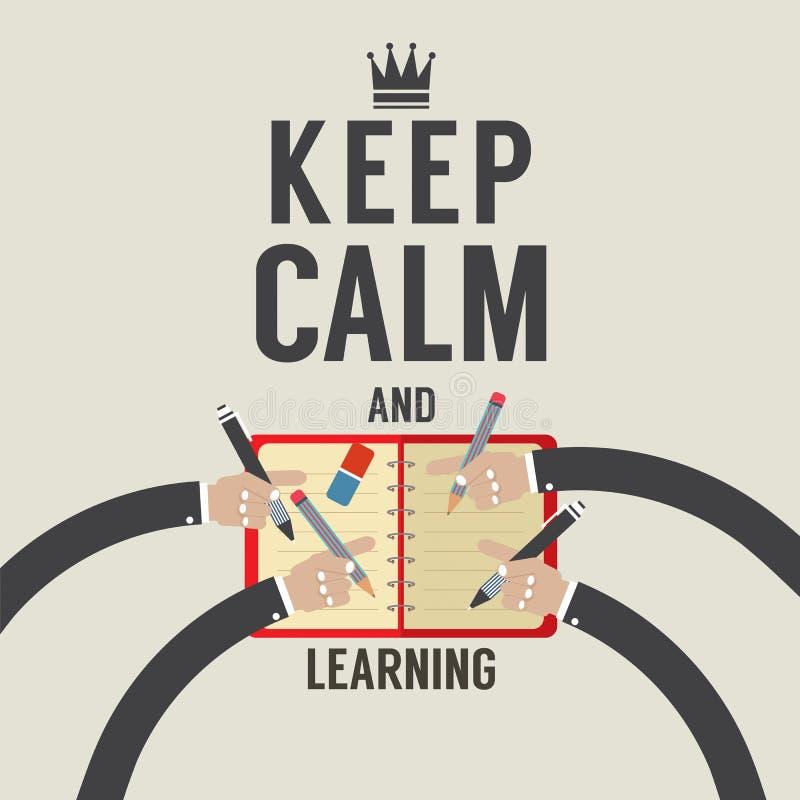 Mantenha a calma e a aprendizagem ilustração stock