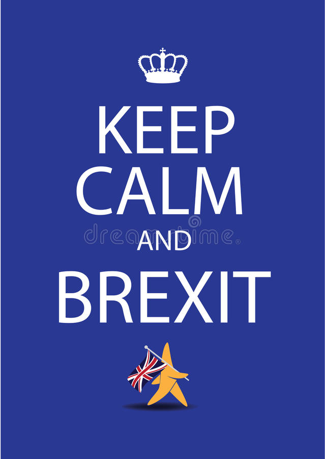 Mantenha a calma e a estrela da UE de Brexit que andam bandeira BRITÂNICA afastado levando ilustração do vetor