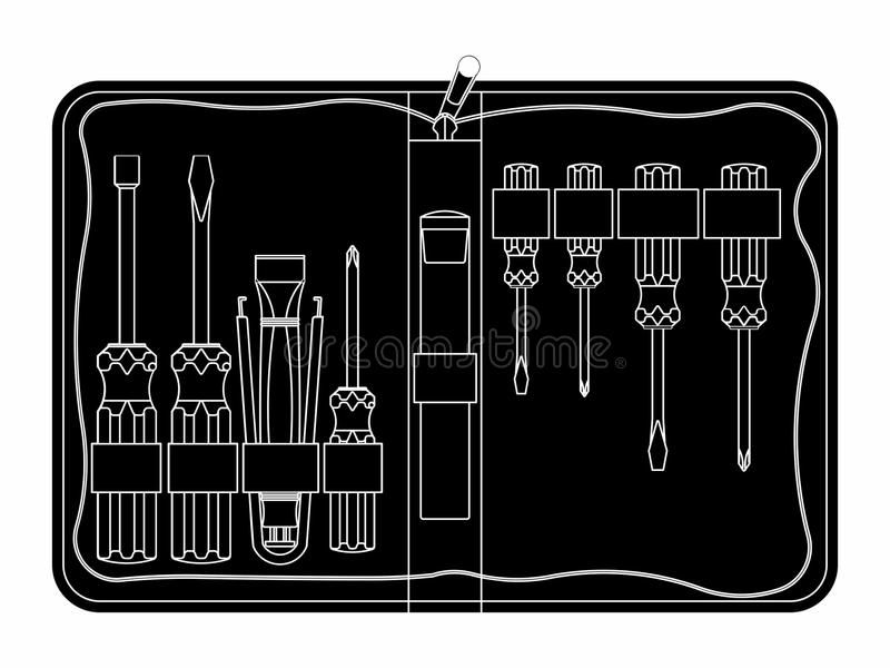 Mantenimiento del equipo de herramienta Terraplén negro stock de ilustración