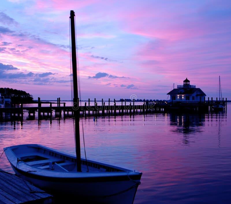 Manteo North Carolina Lighthouse at Sunrise royalty free stock images