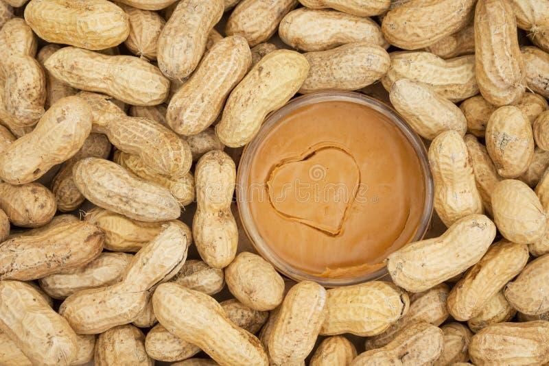 Mantequilla de cacahuete y cacahuetes crudos en cáscaras foto de archivo libre de regalías