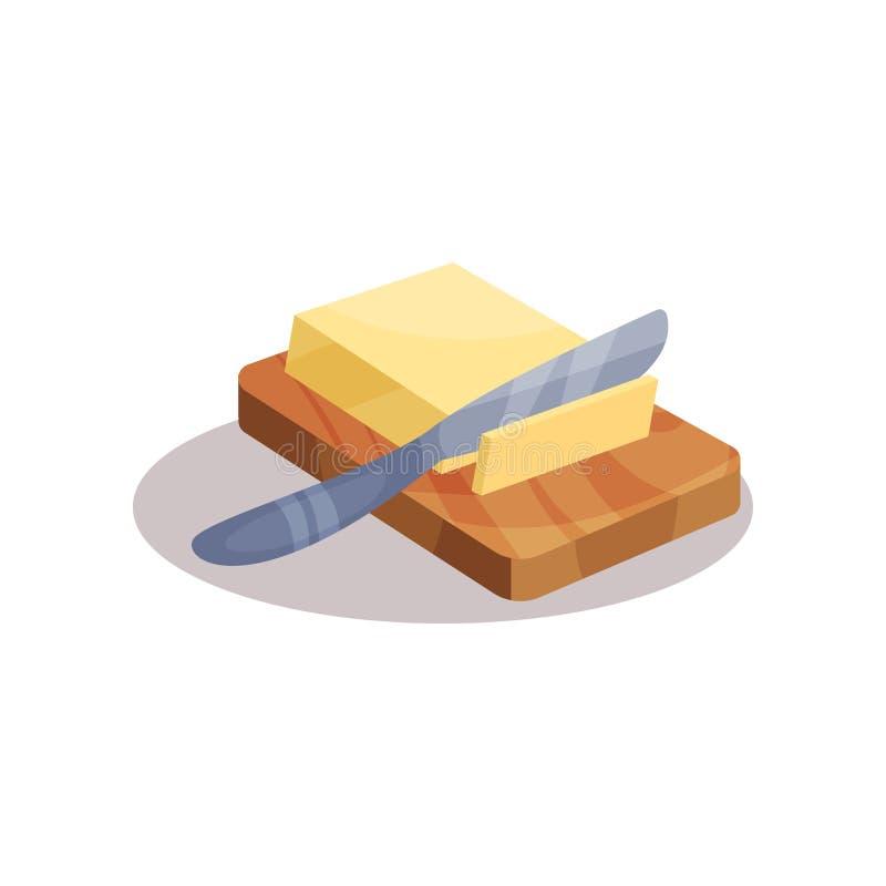 Mantequilla y cuchillo en una placa, ejemplo del vector del ingrediente que cuece en un fondo blanco libre illustration