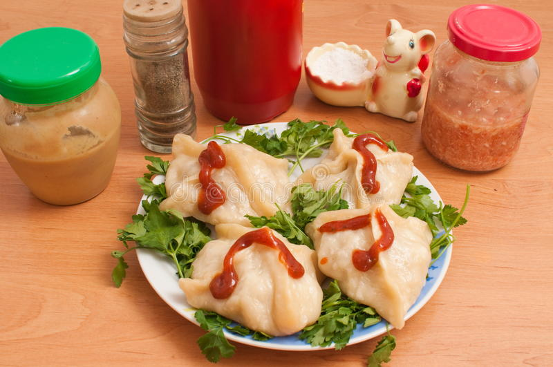 Manti � the Asian dish. Are steamed. royalty free stock photos