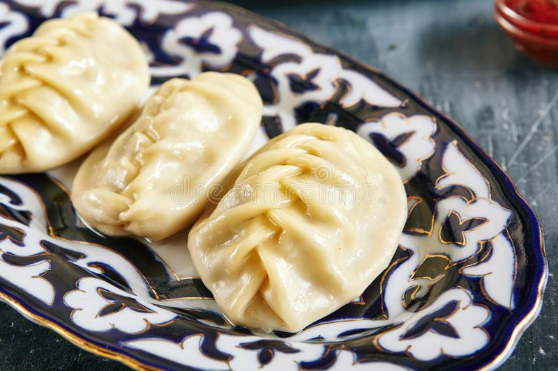 Manti, Mantu or Manty is Traditional Meat Dishes of Central Asia. Manti, Mantu or Manty is Famous Traditional Meat Dishes of Central Asia, Turkey and China. Beef royalty free stock images