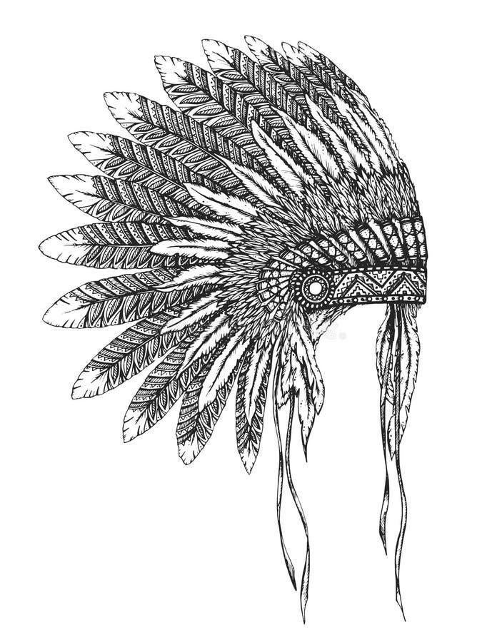 Mantilha indiana do nativo americano com penas em um estilo do esboço ilustração do vetor