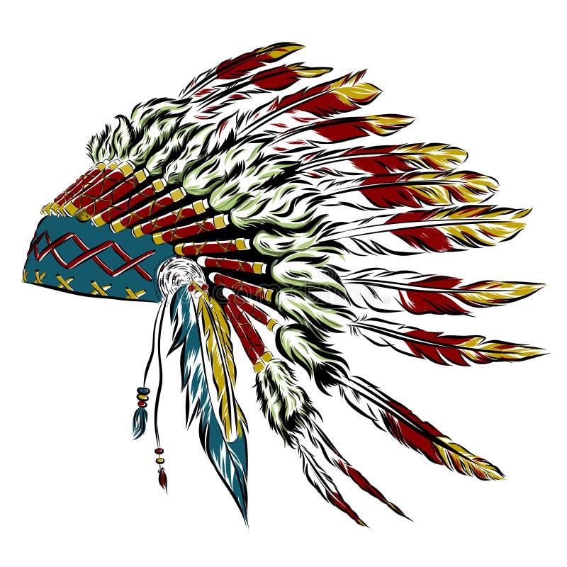Mantilha indiana do nativo americano com penas em um estilo do esboço Para o dia da ação de graças Ilustração do vetor ilustração stock