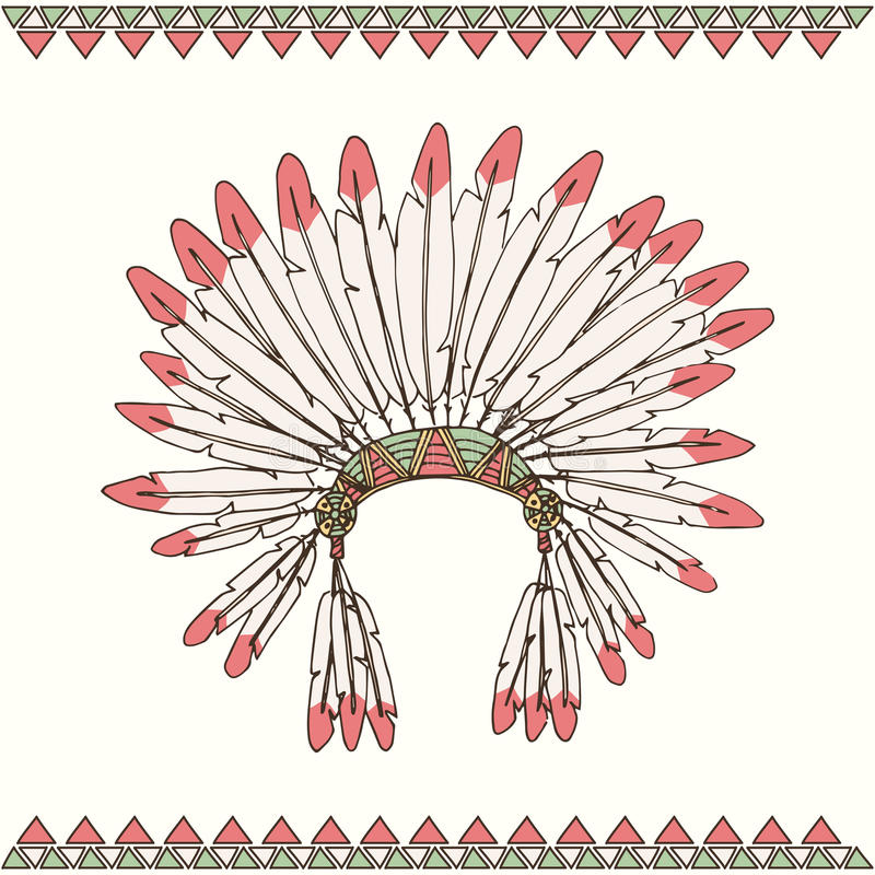 Mantilha tirada mão do chefe indiano do nativo americano ilustração stock