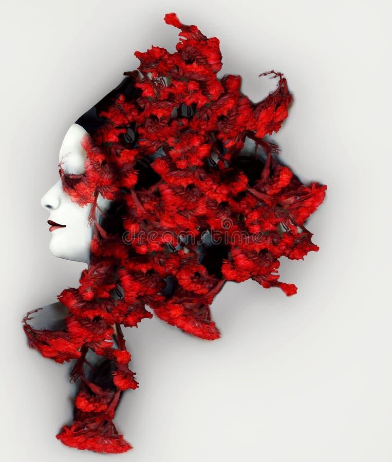 Mantilha vermelha vívida ilustração do vetor