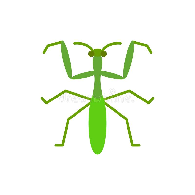 Mantis insect bug single flat color vector icon royalty free illustration